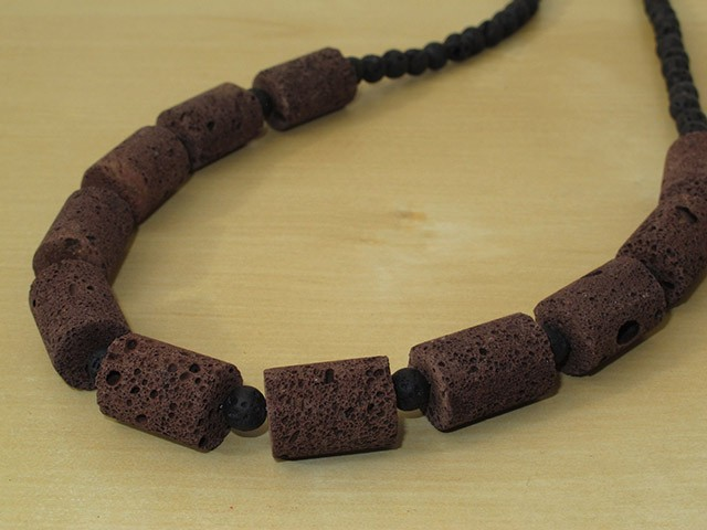 Brown & Black Lava Rock Necklace