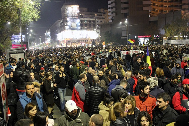 Historic protests in Bucharest, Romania.
