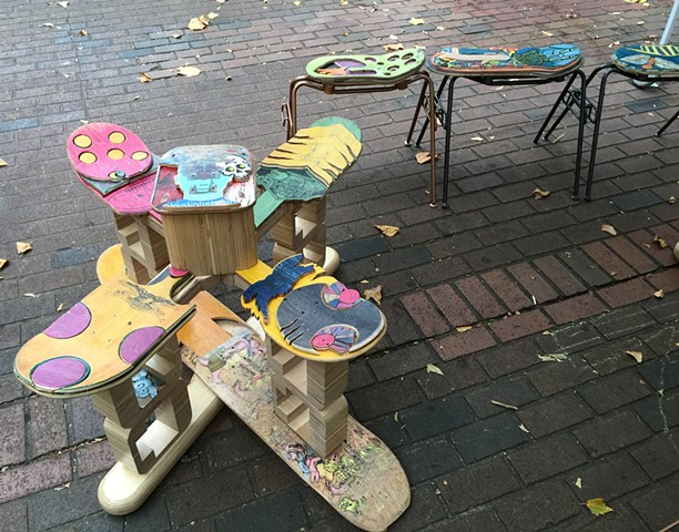 Recycled Skate Board seating or bench. Sculptural furniture. Colorful and unique art.