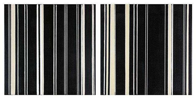 Original minimalist modular stripe abstract painting