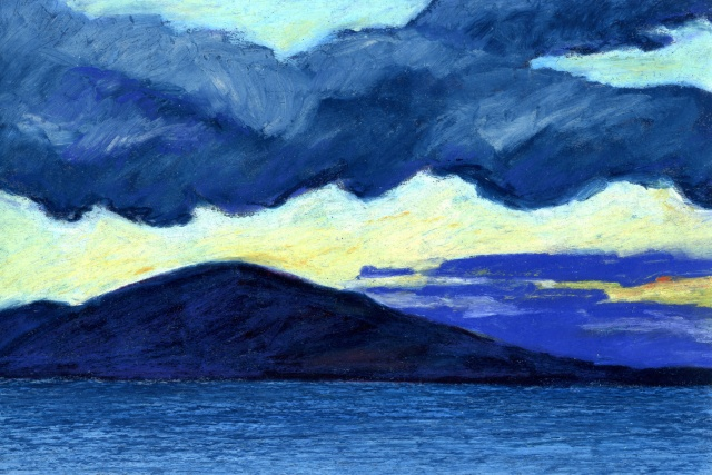 small artwork, pastel painting, landscape painting, seascape, artwork on paper