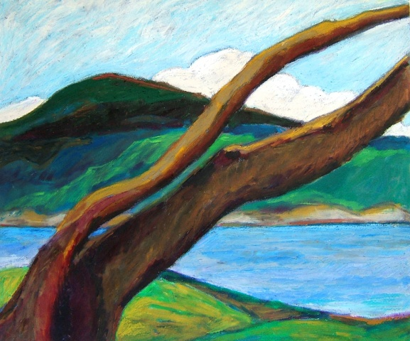 gulf island paintings, original landscape, original art on paper, arbutus trees paintings