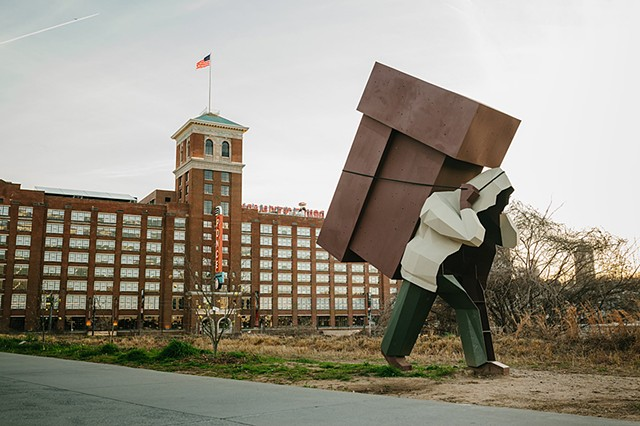 Mike Wsol's sculpture Laborer as part of Art on the Beltline in front of Ponce City Market in Atlanta, GA