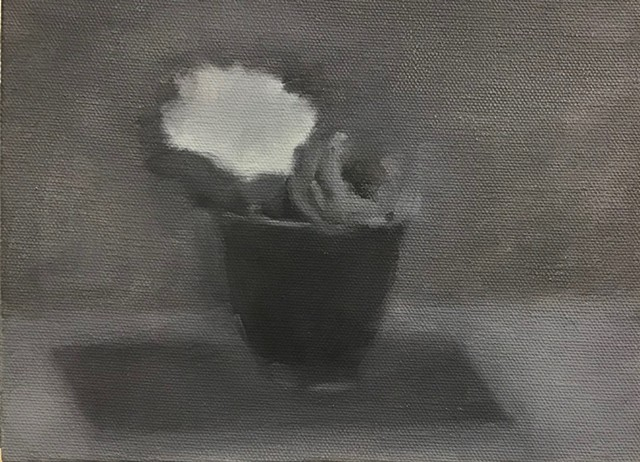 Flowers in a cup. Grisaile