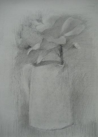 Rose in a Blue Creamer