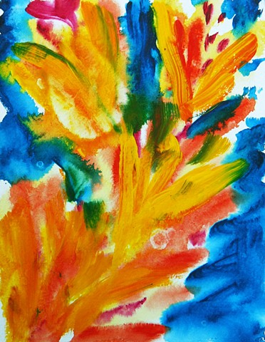 flowers contemporary abstract paper painting bright colorful