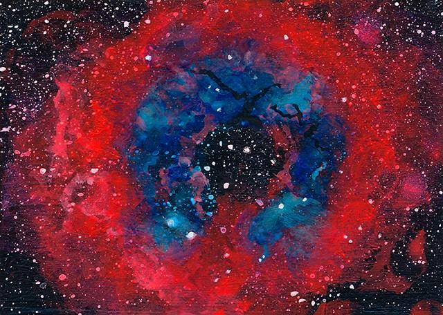 nebulas, rosette, science, space, astronomy, stars, nebula, rosette nebula, solar system, universe, galaxy, cosmic, art, painting, art science, science art, sci-art, sciart