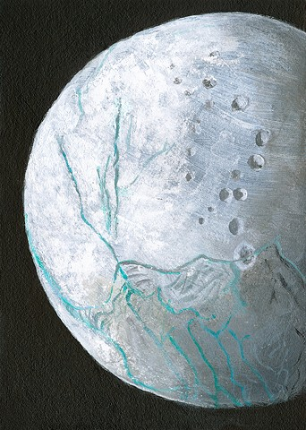 Saturn, science, moon, Enceladus, ice, Cassini, space, astronomy, moons, universe, solar system, cosmic, art, painting, art science, science art, sci-art, sciart