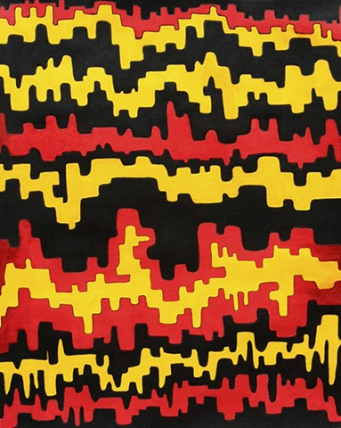 art, abstract, drawing, fine art, black, yellow, red, bold, geometric, graphic art, quarantine, covid19, pandemic