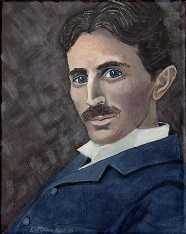 Tesla, Nikola Tesla, portraits, science, physics, electricity, art, painting, art science, science art, sci-art