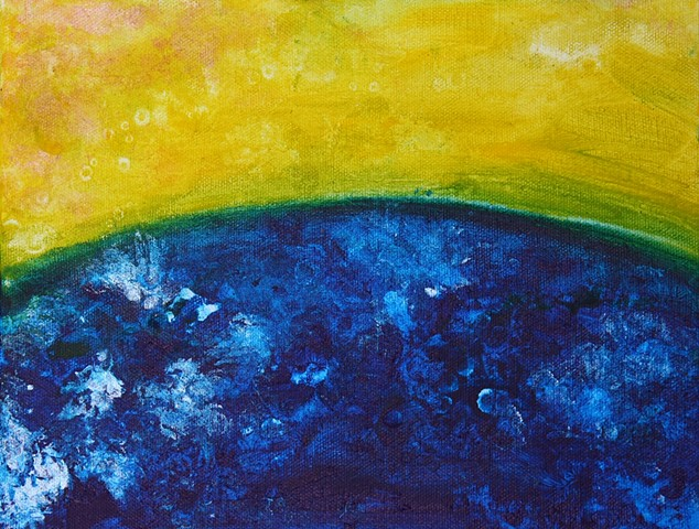 acrylic, abstract, earth, sky, landscape, golden, blue, oceans