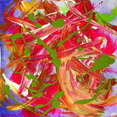 vivid magenta, spring green, violet, and white swirls and splashes leap around a canvas celebrating the beauty of Spring.