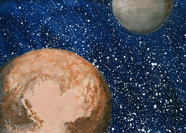 space, astronomy, planets, moon, Pluto, charon, cosmic, universe, sciart, art, painting, science, solar system, dwarf planet, art science, science art, sci-art