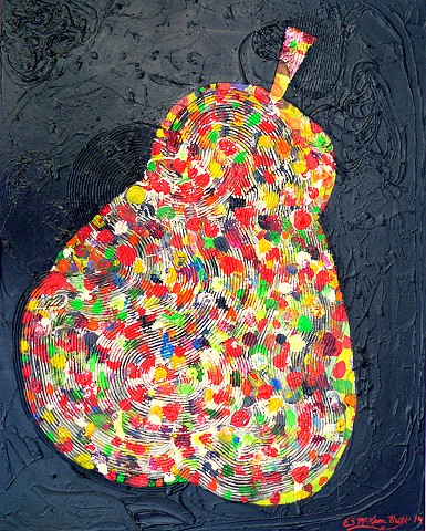 Austin, modern art, contemporary art, colorful, pear, fruit, Texas, funky, textured