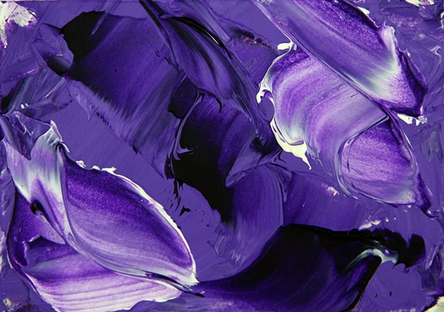 Lilac Dream is an abstract painting featuring rich swirling shades of lilac which blend into the darkest purples and are surrounded by textured white crests