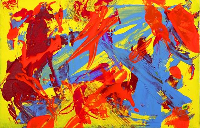 WOKE is a vivid abstract high-energy painting featuring slashes of neon orange color zapping their way across a bright yellow background, with a soothing medium blue and dark red supporting the energetic colors