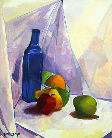 art, painting, still life, wine, bottle, fruit, abstract art, contemporary art, modern art, cubism