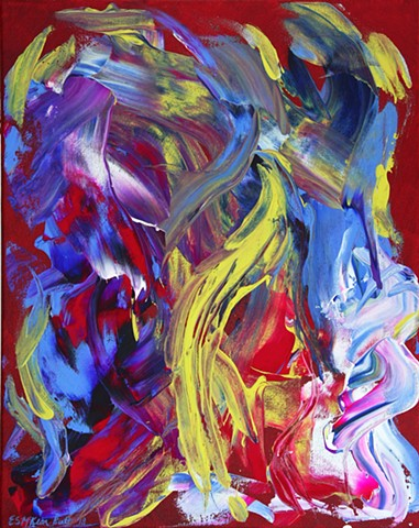 art, painting, acrylic, abstract, modern, contemporary, red, energy, flow, chi, yoga