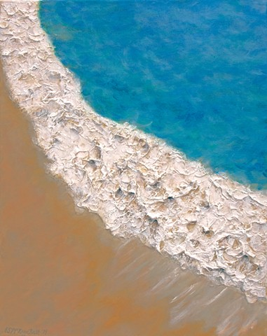 Painting of ocean, sea, wave, waves, water, hawaii, oahu, beach, sand, sandy, surf, surfing, snorkeling, scuba, swimming, coastline, shoreline, vacation, holiday, island, tropical, summer, relaxing, blue, green, foam, by Eileen McKeon Butt, science art, a