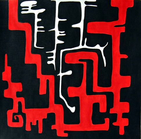 art, abstract, drawing, fine art, black and white, red, bold, geometric, graphic art, quarantine, covid19, pandemic
