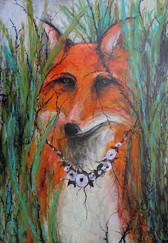 fox painting, abstract fox painting, four years of flowers, kelsey mcdonnell, for art, tall grass, art, artist, contemporary art, contemporary artist, femininist art, wyoming art