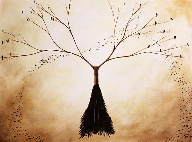 Murder of Crows, Crow Painting, Crows in Tree, Birds in Tree, Woman and Trees, tree woman, raven, crow, black bird, black feather dress