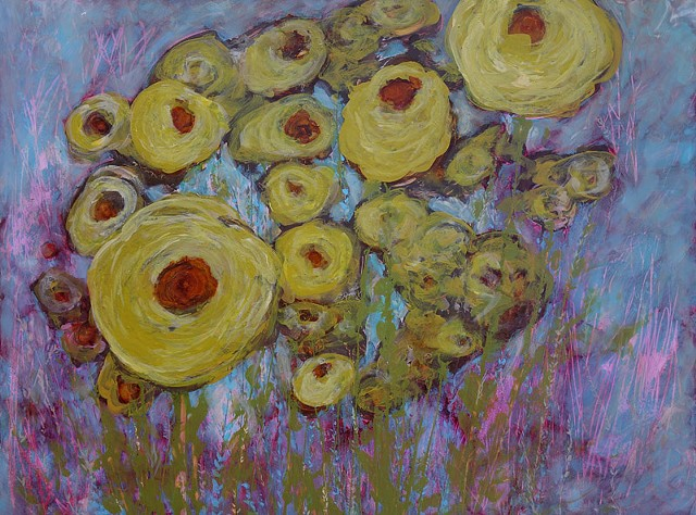 yellow flower painting, kelsey mcdonnell, wyoming artist, abstract artist, abstract flower art, buffalo wyoming, resistance art, four years of flowers
