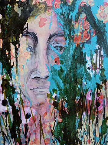 abstract portrait painting, painting, western art, wyoming, art, four years of flowers, artist, flowers, feminist, figure, ink painting