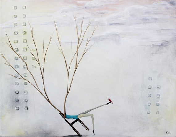 kelsey mcdonnell wyoming artist, human tree forms, tree painting, bird art