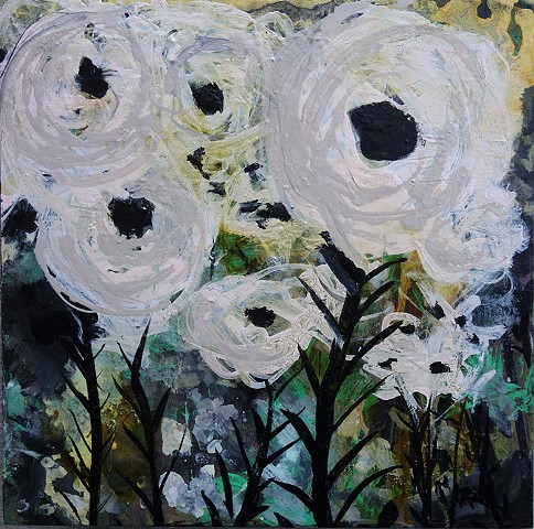 contemporary art, abstract flowers, wyoming artist, kelsey mcdonnell, white flowers painting, wyoming art