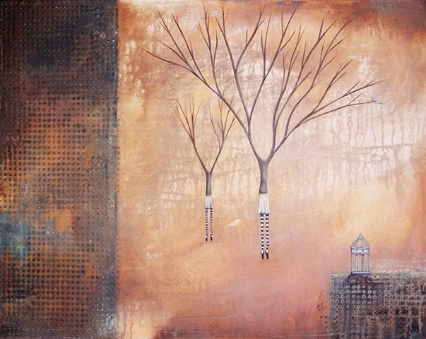 fine art painting abstract tree and women, bird cage painting