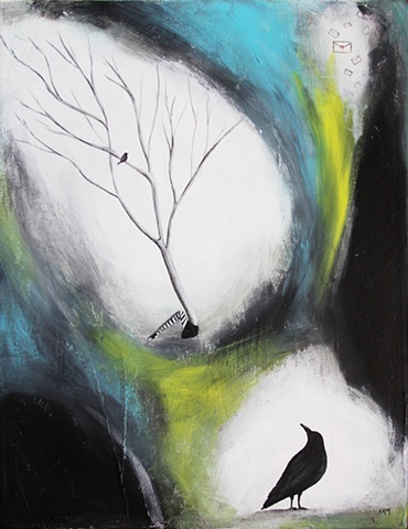 abstract tree and woman painting