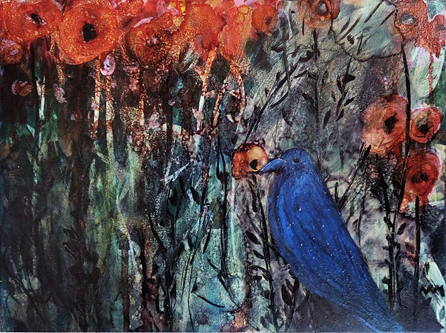 blue yellow flower painting, wyoming artist, resistance art, four years of flowers, bird painting, bird art, blue bird wyoming