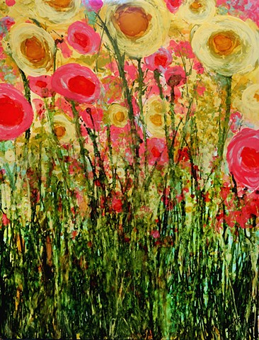impressionistic painting, modern impressionism, kelsey mcdonnell, four years of flowers, yellow flower painting, pink flower painting, wyoming artist, wyoming art