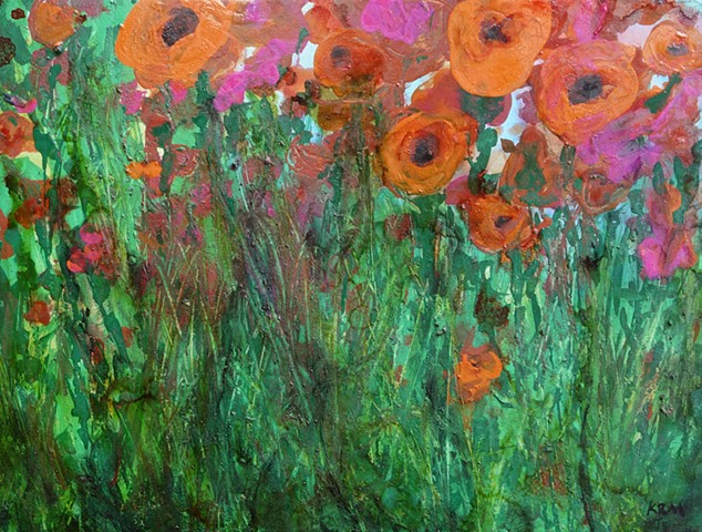 orange flower painting, wyoming art, kelsey mcdonnell, four years of flowers, feminist art, resistance art, grow through it
