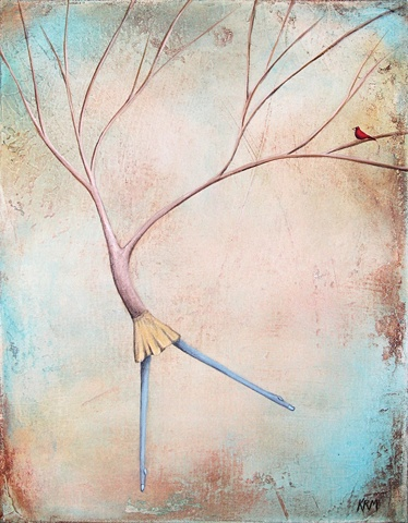 Wyoming artist, contemporary art, woman and tree painting