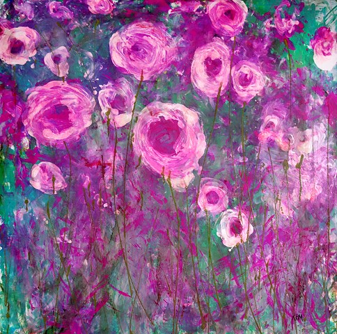 impressionistic painting, modern impressionism, kelsey mcdonnell, four years of flowers, pink flower painting, pink flower painting, wyoming artist, wyoming art
