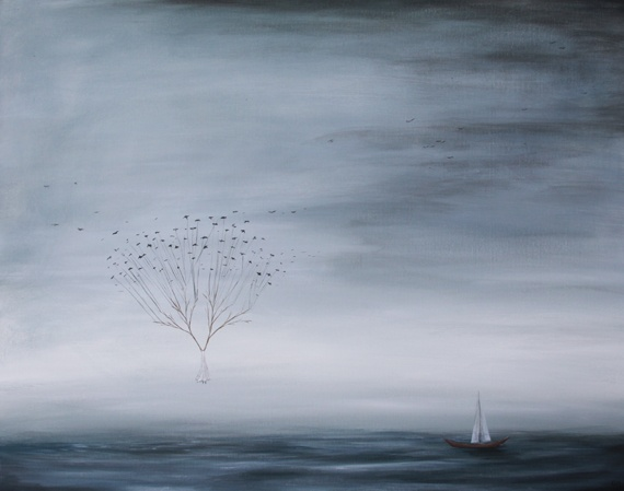 nautical art, tree in ocean, water and tree painting, floating above water, birds over water