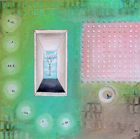 surrealist door into open sky with woman and birds on a wire, pink blue green painting