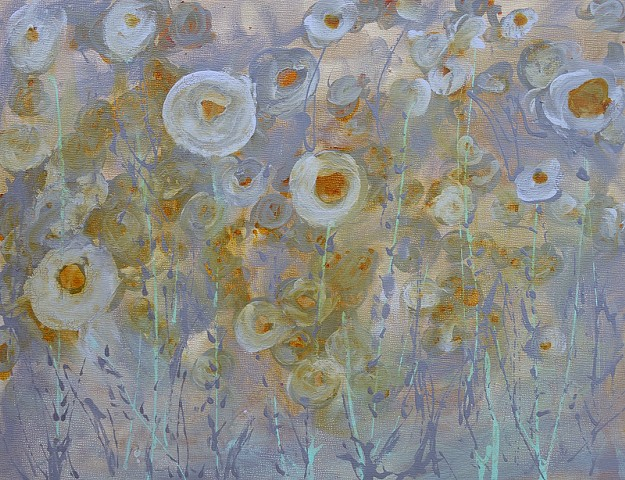 gray painting, grey painting, blue flowers, floral art, floral design, krm, wyoming