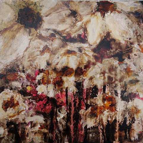 brown white flower, modern art, abstract art, abstract flower painting, wyoming artist, montana artist, feminist