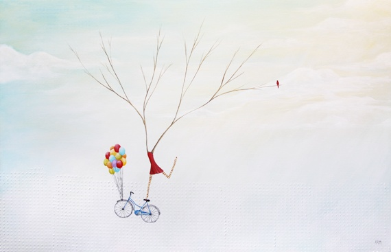 wyoming artist, painting of trees, tree art, womens art, painting of ballons, whimsical painting