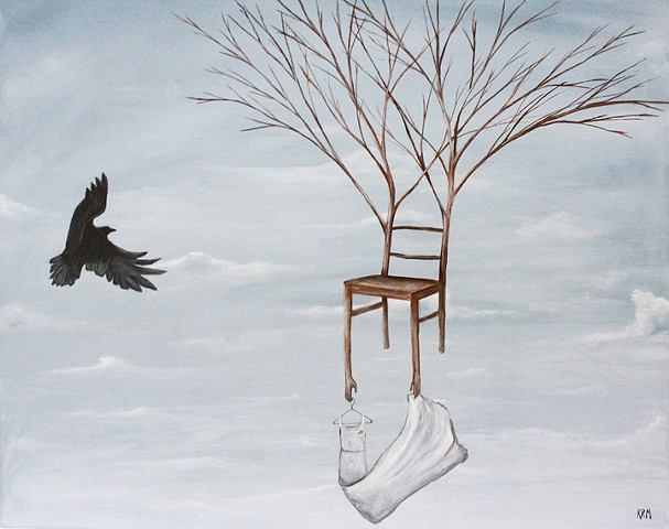 cloud painting, chair painting, tree chair, dress chair, crow raven art