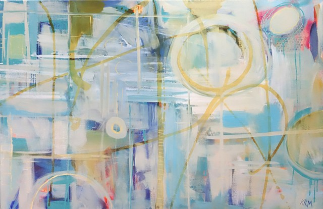 abstract art, modern art, wyoming artist, large blue painting, interior design, large abstract painting