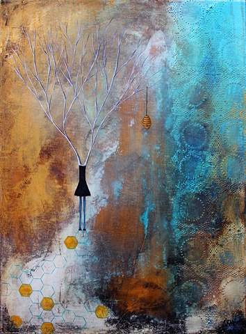 phenomenal woman painting, honey bee hive painting, tree and women art