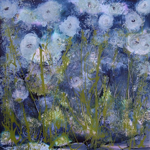 abstract art, modern art, wyoming artist, large blue painting, interior design, impressionism, impressionistic flowers