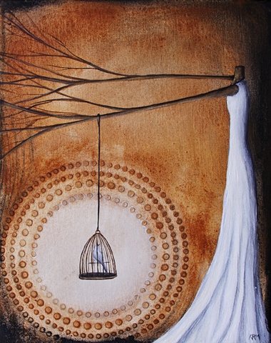 tree woman, bird in cage, art with trees and women, tree painting, sepia brown