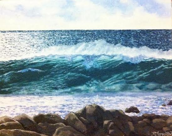 landscape yallingup rebecca morgan-finch wave ocean oil painting