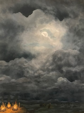 full moon contemporary art sky skies perth artist narrative witch hunts maiden mother crone