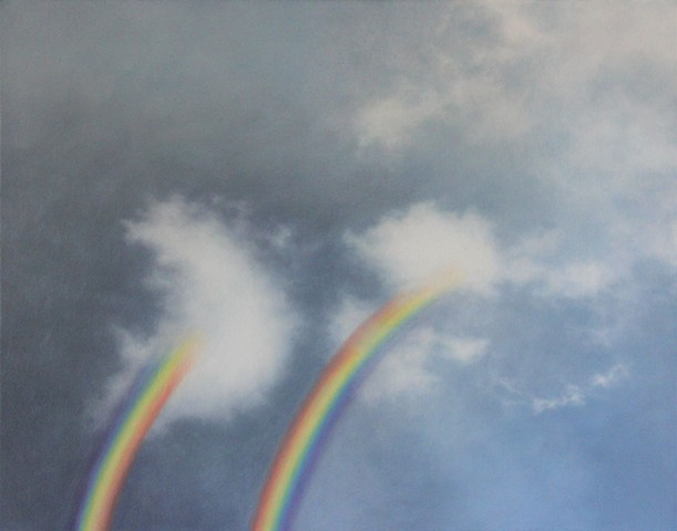 rebecca morgan finch rainbow painting clouds cloud thunderstorm perth artist painter contemporary art